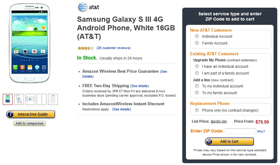 AT&T Samsung Galaxy S3 for $79.99
